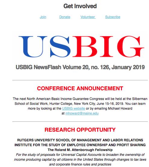 USBIG Newsflash, January 2019