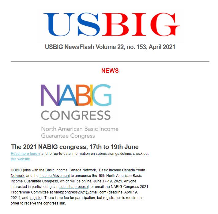 USBIG Newsflash, April 2021